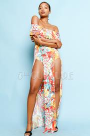 Double Slit Tropical Maxi Sexy Dress