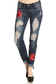 Floral Patch Distressed Denim Jeans