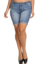 Plus Size Fade Bermuda Denim Shorts