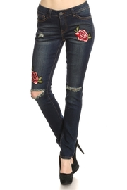 Ripped Knee Floral Patch Skinny Jeans