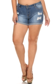 Plus Size Ripped Faded Denim Shorts