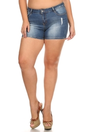 Plus Size Ripped Side Denim Shorts