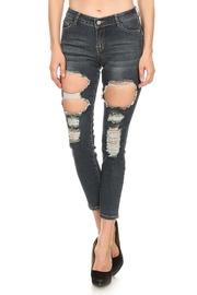 Destroyed Hole Denim Skinny Jeans