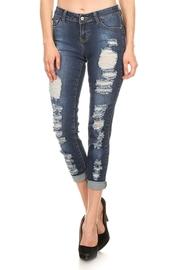 Distressed Folded Skinny Denim Jeans
