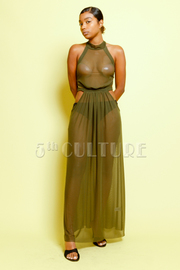 Cutout Sides Maxi All Mesh Halter Dress