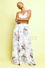 Floral Printed Crochet Waist Maxi Dress