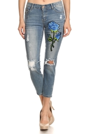 Floral Patch Side Light Skinny Jeans
