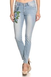 Blue Floral Patch Light Skinny Jeans