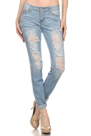 Double Rose Patch Distressed Light Jeans