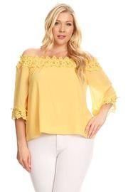 Plus Size Off Shoulder Crochet Trim Sheer 3/4 Sleeved Blouse