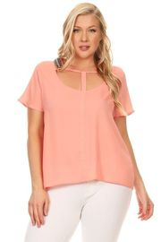 Plus Size Cutout Solid Beaded Trim Sheer Top