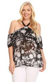 Plus Size Open Shoulder Floral Printed Blouse