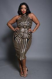 Plus Size Diamond Spiral Midi Glam Cocktail Dress