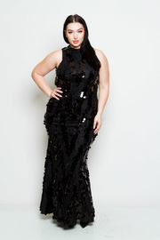 Plus Size Sparkle Sequin Cocktail Maxi Prom Dress