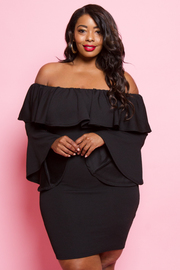 Plus Size Off Shoulder Flounce Bell Sleeved Dress