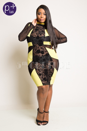 Plus Size Exposed Floral Mesh Sexy Bodycon Dress