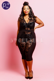 Plus Size So Sexy In Floral See Through Mesh Capri Jumpsuit