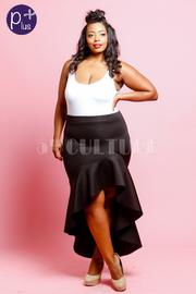 Plus Size Sweet Hi Low Ruffled Skirt