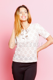 Laced Tie Up Short Sleeved Top