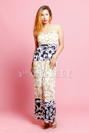Strapless Baroque Printed Maxi Dress