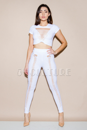Sliced Detailed Cropped All Leggings Crop Set