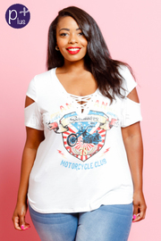Plus Size Cut Sleeved Biker Graphic Tee