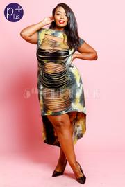 Plus Size Sexy Sliced Maxi Tie Dye Dress