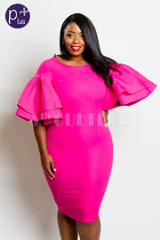 Plus Size Bubble Sleeved Bodycon Bengaline Dress