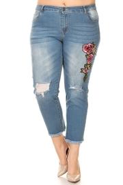 Plus Size Ripped Knee Denim Jeans
