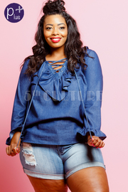 Plus Size Classic V-neck Ruffle Chambray Flounce Top