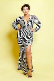 Plus Size Mixed Lined Slit Side Maxi Dress