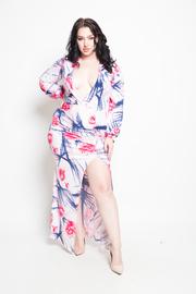 Plus Size Paradise Floral Slit Side Maxi Dress