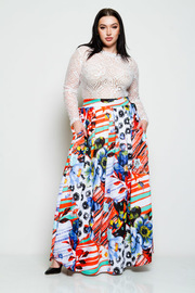 Plus Size Tropical Printed Maxi Skirt