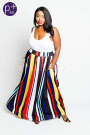 Plus Size Striped Multi-Colored Maxi Skirt
