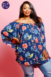 Plus Size Floral Printed Sheer Blouse