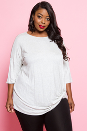 Plus Size Twist Solid Short Sleeved Top
