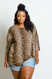 Plus Size Twist Leopard Printed Loose Top