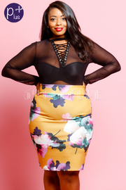 Plus Size Floral Chic Pencil Skirt