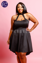 Plus Size Cute Cutout Chest Solid Skater Dress