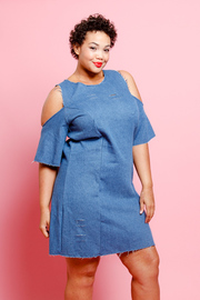 Plus Size Open Shoulder Denim Tunic Dress