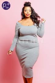 Plus Size Simple But Cute Wide Neck Midi Dress
