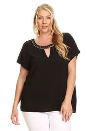 Plus Size Beaded Jeweled Neckline Casual Blouse