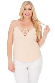 Plus Size Cross Straps Casual Cami Top