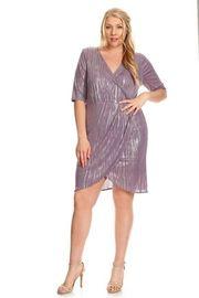 Plus Size Shiny Overlap Mini Cocktail Dress