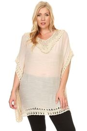 Plus Size Crochet Trim Loose Knit Top