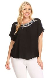 Plus Size Embroidery Sheer Top