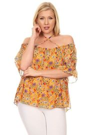 Plus Size Cross Straps Casual Floral Top