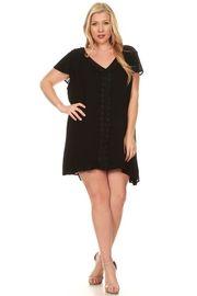 Plus Size Crochet Trim Tunic Woven Dress