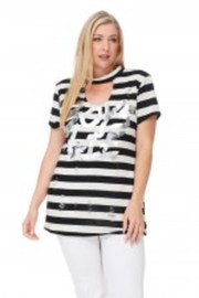 Plus Size Striped Choker Boys Life Top