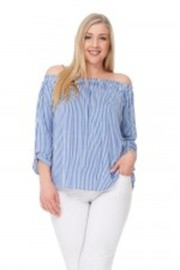 Plus Size Off Shoulder Striped Loose Top